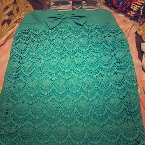 Lace bow turquoise pencil skirt